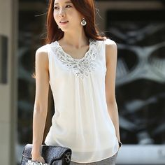 Cheap Blouses & Shirts, Buy Directly from China Suppliers:Blusa Chiffon Feminina 2015 Fashion Casual Women Summer Korean Sleeveless Top White Blouse Femme Blusa Black