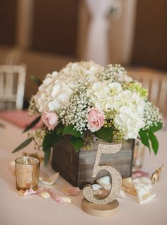 Barn Wedding Style Wedding with Sweet Wedding Floral Details - 2017 and 2018 Wedding Trends - Fine Glitter // Artisan Wedding Decor, Gifts & Accessories by www. or Shop ZCreateDesign on Etsy by Clicking Pin Flower Box Centerpiece, Blue Centerpieces, Rustic Wedding Centerpieces, Wedding Table Centerpieces, Table Flowers, Wedding Table Numbers, Centerpiece Decorations, Flower Arrangements, Wedding Decorations