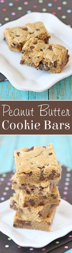 These Peanut Butter Cookie Bars are thick, chewy and oh so delicious!