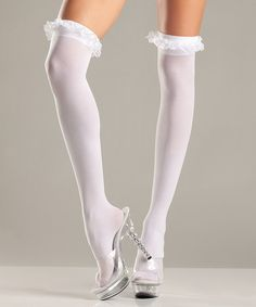 Look at this #zulilyfind! White Lace Ruffle Thigh High Stockings - Women & Plus #zulilyfinds $6