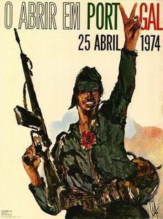 vintage poster remembering the portuguese revolution on 1974, april 25.