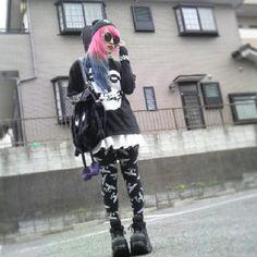 Lisa 13 #nu-goth #fashion Nu Goth Fashion, Harajuku Fashion, Japanese Streets, Japanese Street Fashion, Creepy Cute, Pastel Goth, Platform Shoes, Alternative Fashion, Clothing Ideas