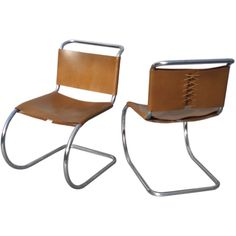 MR Chairs by Mies van der Rohe...stainless tube with leather
