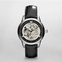 Emporio Armani Watch Meccanico Mens Vogue Concise Style I love skeleton watches Emporio Armani, Armani Watches For Men, Skeleton Watches, Cool Watches, Fashion Watches, Chronograph, Vogue, Bling, Ebay