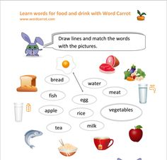 food or drink matching worksheets
