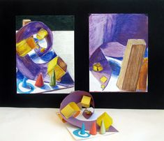 ART 1 Color Still Life Sculpture Students created small individual sculptures with colored paper, glue, yarn,and blocks. After learning to use color to create different values students drew their sculpture from observation using Prismacolor.