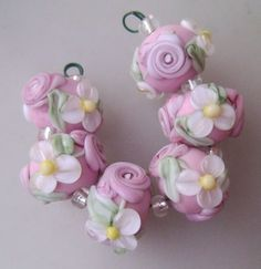 BLISS Pink Romance Roses and Daisies Lampwork Floral Bead Set