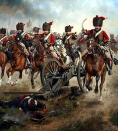 Charge of the elite company of the 4th Hussars against an outpoust during the siege of Tarragona, May - June 1811 - Ferrer Dalmau.