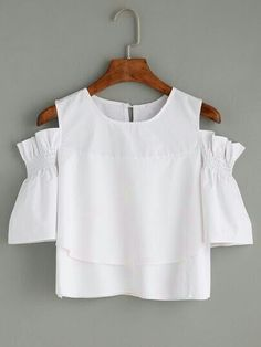 c81189706da3a3 SheIn offers White Ruffled Open Shoulder Blouse & more to fit your  fashionable needs.