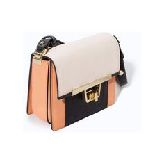 Cream Orange Mini Messenger Bag with Metal Clasp ❤ liked on Polyvore featuring bags, messenger bags, orange messenger bag, pink messenger bag, cream bag and clasp bag