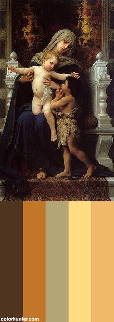 Bouguereau,+La+Vierge,+L'enfant+Jésus+Et+Saint+Jean-baptiste,+1882+Color+Scheme