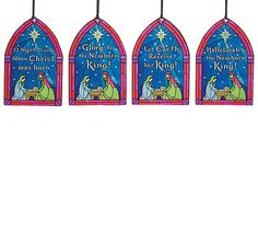 A set of four glass Nativity scene ornaments with Christmas carols  #stained #glass #nativity #Christmas #Carol #decor #burtonandburton #ornaments #Carolyn #Figuereo #art