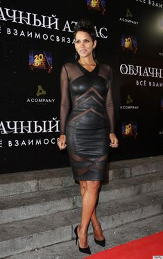 SHA-ZAM!! Halle Berry is KILLING IT in this Catherine Malandrino sheer & leather dress. can you believe she is 46?! SICKENING!!!
