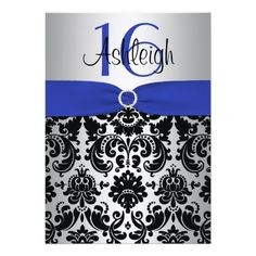 Blue, Silver, and Black Damask Sweet 16 Invitation We provide you all shopping site and all informations in our go to store link. You will see low prices onShopping          	Blue, Silver, and Black Damask Sweet 16 Invitation Review on the This website by click the button below...