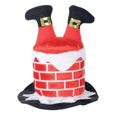 Club Pack of 12 Red, White and Black Santa Chimney Hair Clip Christmas Party Favor Costume Accessories