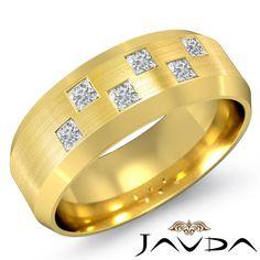 Princess Bezel Set Diamond Mens Half Wedding Band 8mm Ring 14k Yellow Gold 0 5ct | eBay