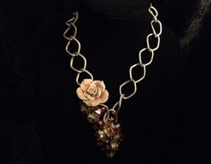 Champagne rose necklace  by azCreationsByAlyssa on Etsy