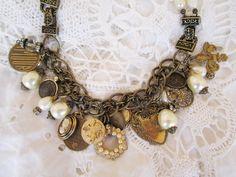 Repurposed necklaces | repurposed religious jewelry necklace bracelet charm pearl vintage ...