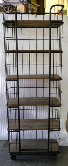 New Industrial Metal Recycled Rustic Timber Bookcase Shelving Unit Cabinet Shelves Reclaimed Wood Wooden Bookshelf Book Shelf