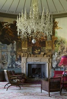 spectacular crystal chandelier, eclectic furnishings, beautiful handpainted mural, domed ceiling  interior Cornwall