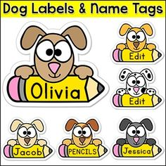 Dog Theme Name Tags: These fun puppy dog name tags and labels will look fantastic in your classroom! This set is so versatile because you can make any labels that you want with the included blank labels and editable PowerPoint file. These would make great bin or basket labels, job cards, flash cards and of course name tags.