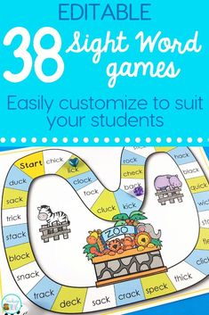 Editable games make differentiation easy. You can use them for any word work activity - sight words, phonics, spelling. Spelling Word Games, Word Work Games, Sight Word Games, Sight Word Activities, Reading Activities, Reading Games, Teaching Sight Words, Teaching Phonics, Teaching Reading