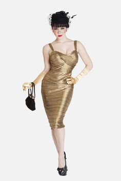 Bettie Page Glitz Gold dress