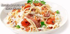 Receta de pasta con  filete picante