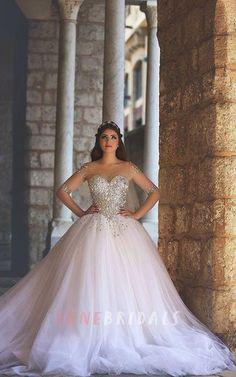 Glamorous Illusion Half Sleeve Tulle Wedding Dress Beadings Ball Gown - June Bridals