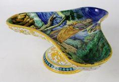 RARE-Italian-Faience-Majolica-Pottery-Cantagalli-Tricorn-Tazza-Portrait-NR-VBD