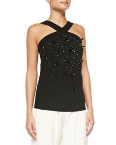 Embellished-Front Halter Blouse by Carolina Herrera at Neiman Marcus.