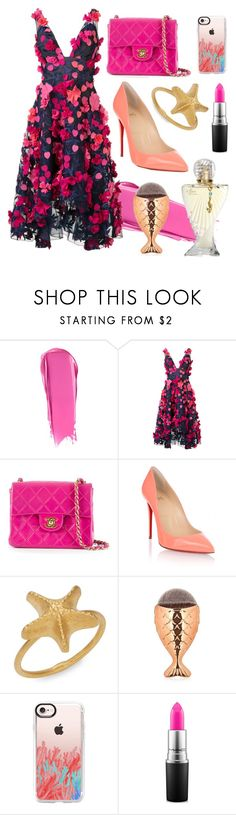 """""""Siren"""" by tezz19 ❤ liked on Polyvore featuring Liberty, Notte by Marchesa, Chanel, Christian Louboutin, Valentino, Casetify, Paris Hilton and MAC Cosmetics"""