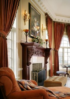 Hang drapes directly under molding for a more dramatic effect. It also makes the room feel larger!