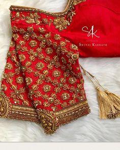 Ideas contemporary art design pictures for 2019 Wedding Saree Blouse Designs, Pattu Saree Blouse Designs, Fancy Blouse Designs, Designer Blouse Patterns, Sleeve Designs, Work Blouse, Maggam Works, Sequins, Sarees