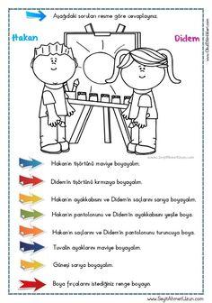 OKUDUĞUNU ANLAMA – Oku – Boya Çalışması 6 DOĞUM GÜNÜ Okuma anlama metni Özgün bir çalışma olarak pdf formatında hazırlanmıştır. Sitede bulunan çalışmaları özgün içerik.. Turkish Lessons, Learn Turkish, Turkish Language, Following Directions, Learning Arabic, Pre School, Kids And Parenting, Autism, Psychology