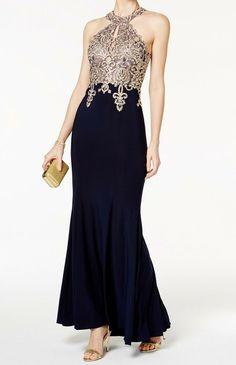 7f84c186d5228 Xscape NEW Blue Women s Size 12P Petite Embroidered Halter Gown Dress  279-   077