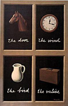 //// 르네 마그리트 <꿈의 열쇠> -1930년 제작 //// 이 작품은 마그리트의 작품답게 각 이미지와 단어가 일치하지 않는다. <이미지의 배반>을 떠올리게 한다. 이 그림 역시 본질과 언어의 불일치, 언어의 불완전성을 다루고 있다고 볼 수 있다. 개별 사물들이 언어와 맺는 관계는 절대적이지 않고 임의적인 것이다. 마그리트는 회화의 소쉬르다. 그런데 작품이름이 <꿈의 열쇠> 라는 점이 독특하다. 사물과 언어의 불일치성을 다루고 있는 이 그림에 왜 이러한 제목이 붙었을까?바로 이 작품에서 다루고 있는 임의성, 불완전성, 모순 등이 꿈의 가장 중요한 특징들이기 때문이 아닐까 싶다. 꿈은 결코 논리적이지 않다. 오히려 임의적이고 뒤죽박죽이며 부조리하다. 무의식의 세계를 반영하기 때문이다. 그렇기 때문에 꿈은 이성, 현실, 논리 등이 가질 수 없는 창조적 에너지를 가진다. 그래서 초현실주의 등을 거치며 포스트모더니즘 이후의 현대미술에서 가장 중요한 모티브가 되는 것이다.