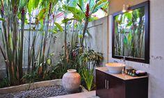 Heliconia caribaea, Diffenbachia, Croton, Rhapis palm and Iris. Villa Kebun bathroom.
