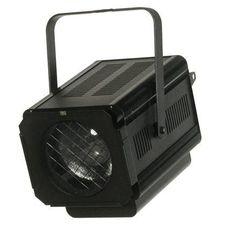 Proyector PC para teatro. Para lámparas de 650, 1000 ó 1200 watios. Incluye portalámparas GX9,5. Medidas 290 x 370 x 400 mm. Peso 6,5 kg. Incluye portafiltros.