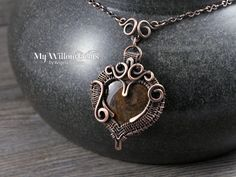 On Sale - Wire Wrapped Heart Necklace - Copper and Golden Brown Gemstone Pendant and Handmade Chain - Innamorata by MyWillowGems