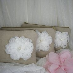 SET of 3 - Wedding clutches, linen bridesmaids clutches, purse and cosmetic bags (Ref: CL886) on Etsy, $57.38 CAD