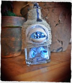 Apothecarium supplies : eye ball jar - Handmade from cold porcelain clay.