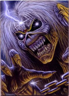 Iron Maidens EDDIE the 'ED. The ghoulish corpse graces all of iron Maidens album covers and joins them on stage during live performances. #eddietheed #eddie #ironmaiden http://www.pinterest.com/TheHitman14/eddie-of-iron-maiden-fame/