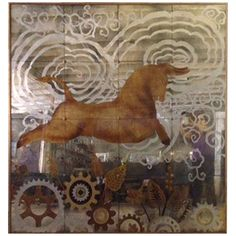 Verre Eglomise Painting - sprockets, horse, clouds antiqued mirror