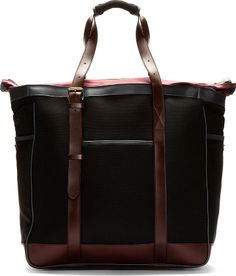 Paul Smith Black & Burgundy Mesh & Leather Tote on shopstyle.com