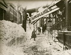 """11th Street in New York after the """"Great White Hurricane"""" blizzard of 1888"""