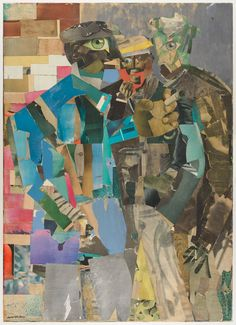 Romare Bearden, Three Men, printed and painted papers, watercolor… African American Artist, American Artists, Afro, Romare Bearden, San Francisco Museums, Artwork Images, Museum Of Modern Art, Art Activities, Collage Art