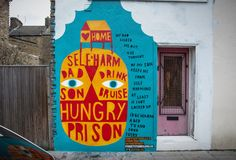 David Shillinglaw's mural for De Paul's London campaign, telling the story of a young homeless person