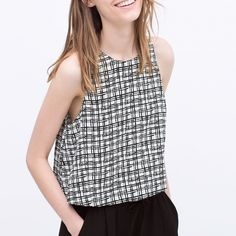 Zara printed top NWT- black and white sleeveless top.                    100% viscose Zara Tops