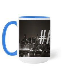 Hustle Script Mug, Light Blue, 15 oz, White